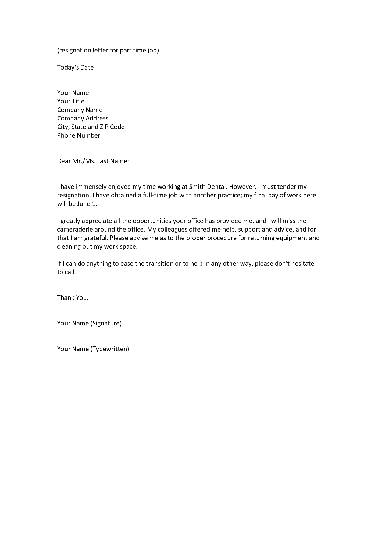 Lovely Sample Job Resignation Letter