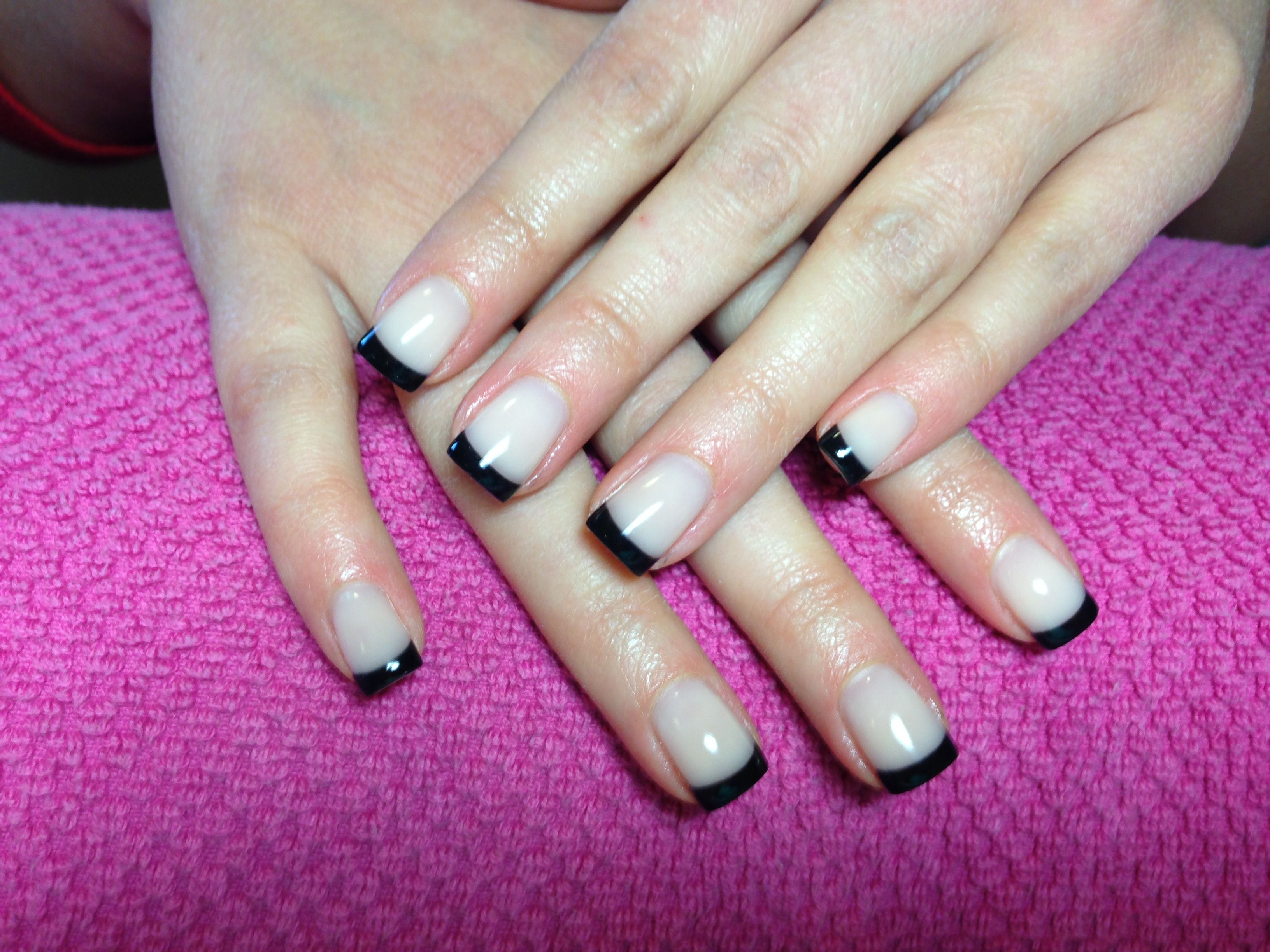 Black tip modern French with nude gel square tips