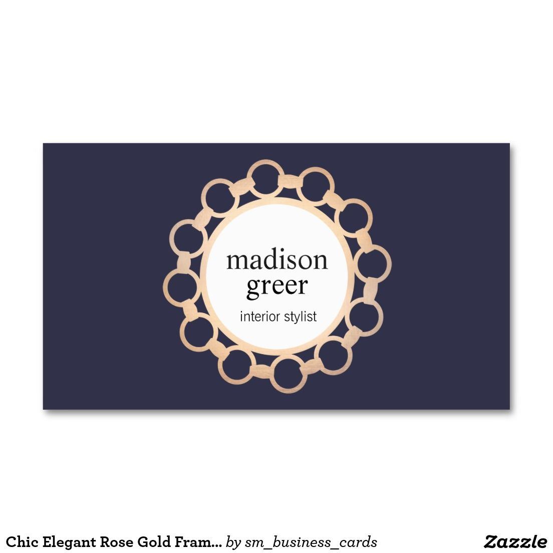Chic elegant rose gold frame navy blue business card business chic elegant rose gold frame navy blue business card chic stylish business card perfect for jewelry designers interior designers home decor boutiques colourmoves