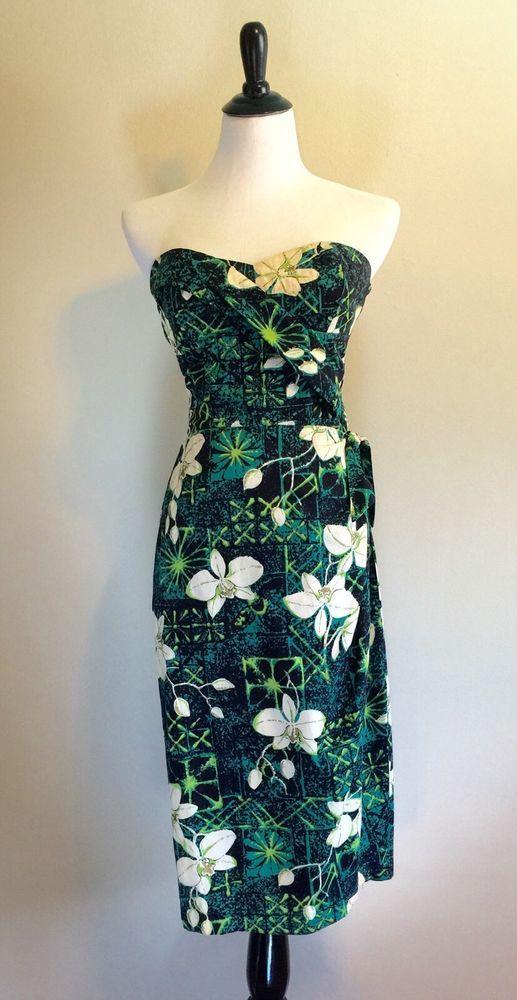 6fc3d0c9370f 1950's 50's Alfred Shaheen Sarong Dress Hawaii Vacation Outfits, Hawaiian  Woman, Tiki Dress,