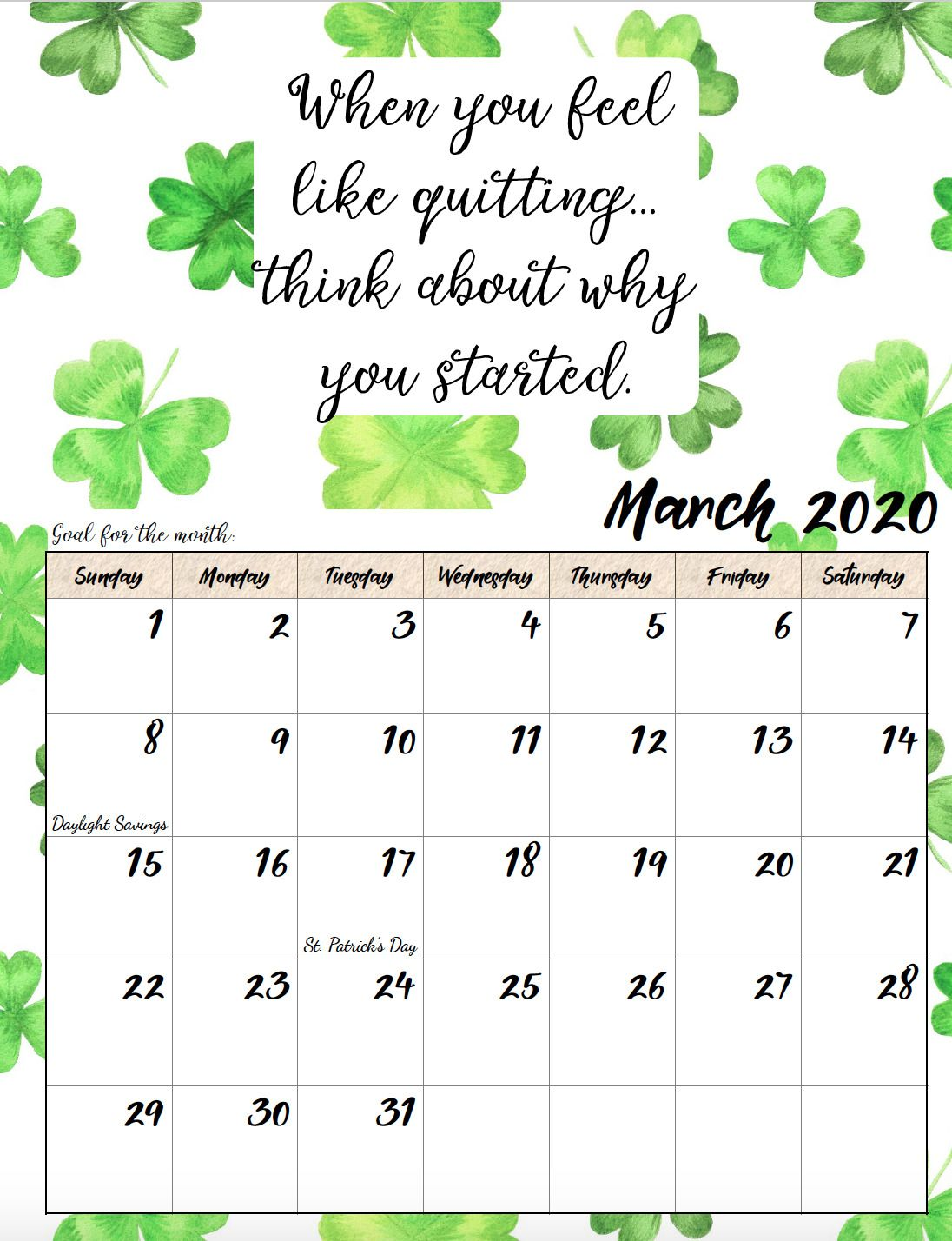 Free Printable 2020 Monthly Motivational Calendars Free