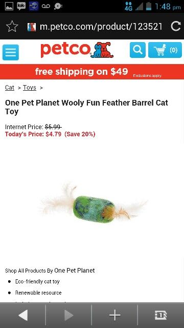 One Pet Planet Wooly Fun Feather Barrel Cat Toy Cat Toys Pets Petco