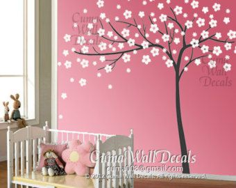 Tree Decal With White Blossoms Nursery Wall Decals Tree Tree Wall Murals Tree Mural Nursery