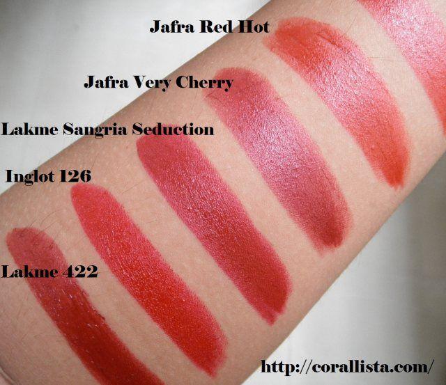 Indian Bridal Lipstick Swatches Lakme 422 Inglot 126 Lakme