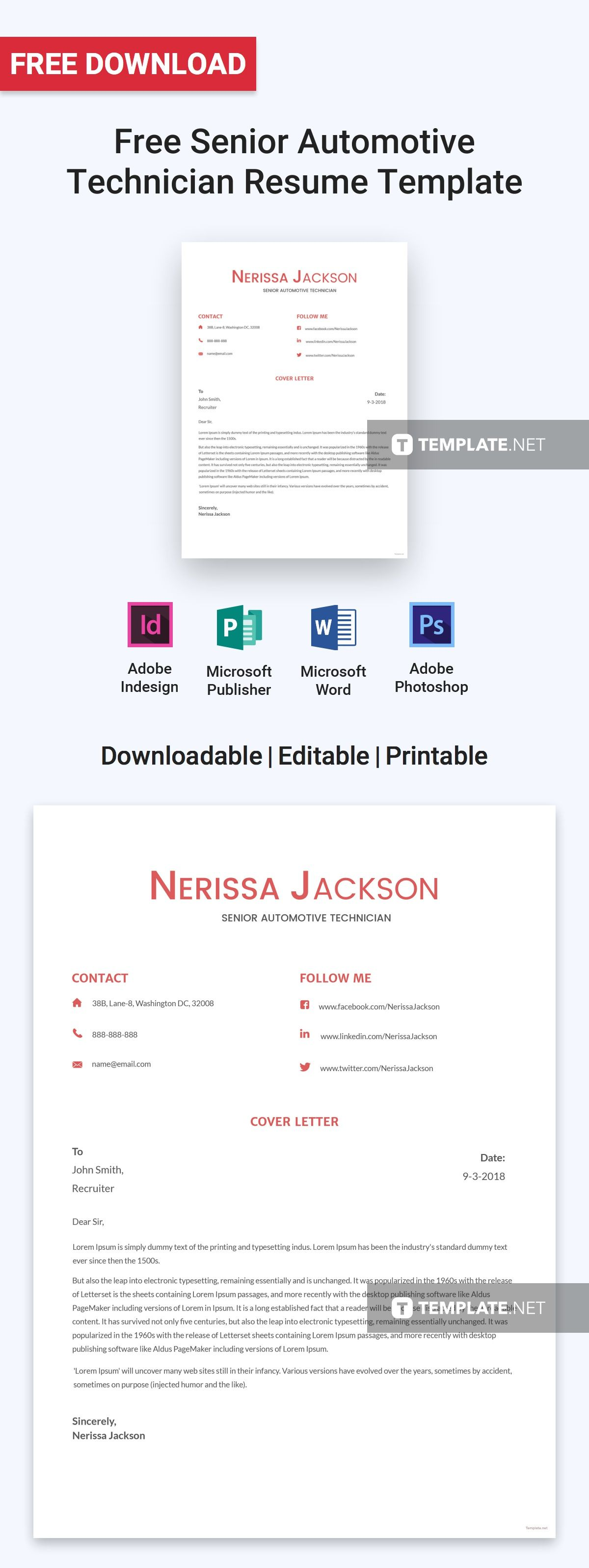 A Resume Template That Also Includes A Cover Letter Perfect For Those Who Are Applying As A Senior Aut Resume Design Template Cv Template Word Resume Template