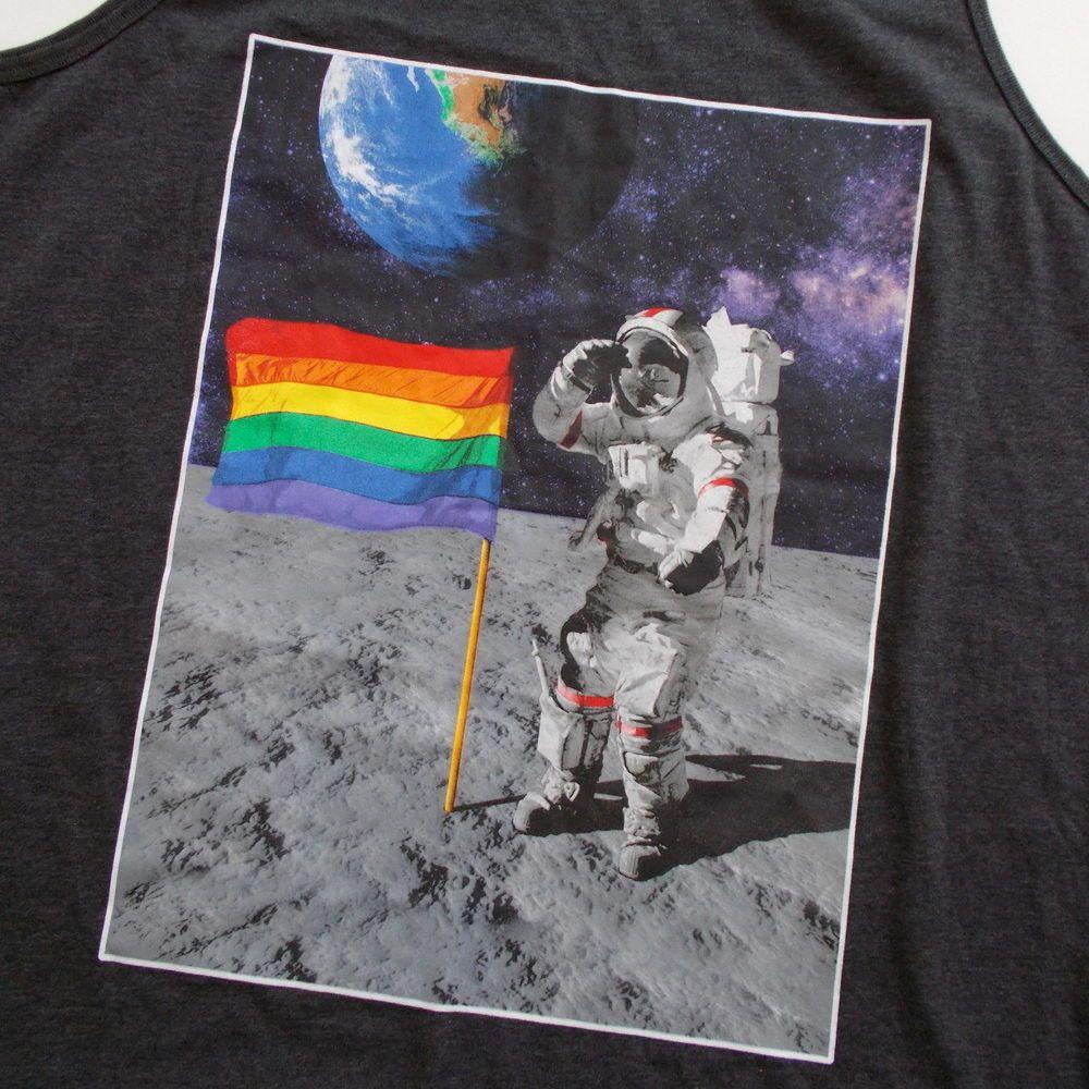 Mad Engine Mens Tank Top Astronaut Rainbow Flag Pride 2x