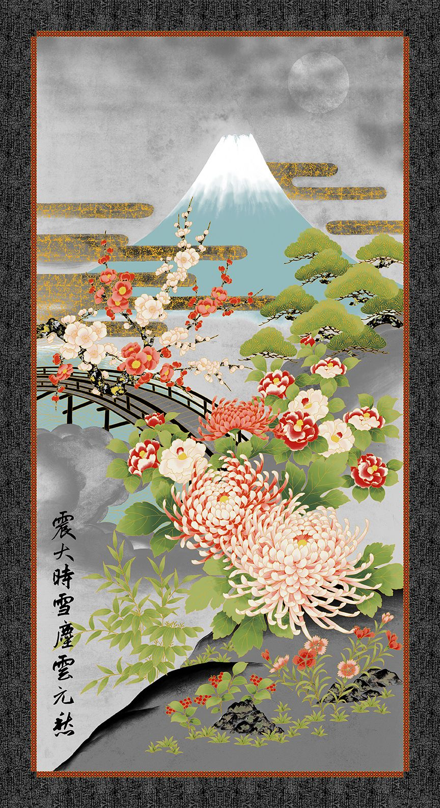 Mt Fuji Gray Panel 24 X 44 Asian Fabric Large Canvas Wall Art Japanese Quilts