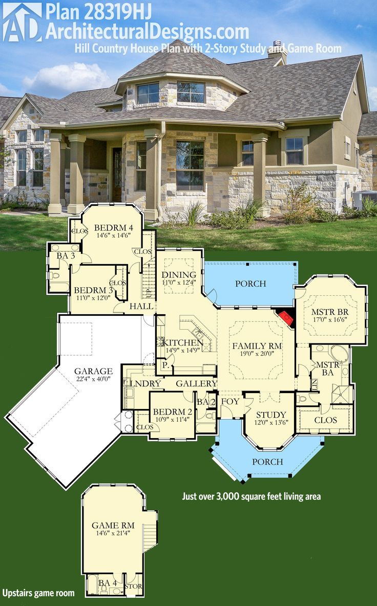 Architectural Designs House Plan 28319HJ Has A 2 Story Study And An  Upstairs Game. Over 3,000 Square Feet Of Indoor Living Plus Porches Front  And Back.