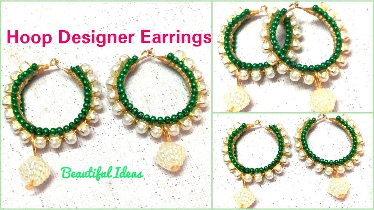 How to make Silk thread Designer EarringsHoop Designer Earrings
