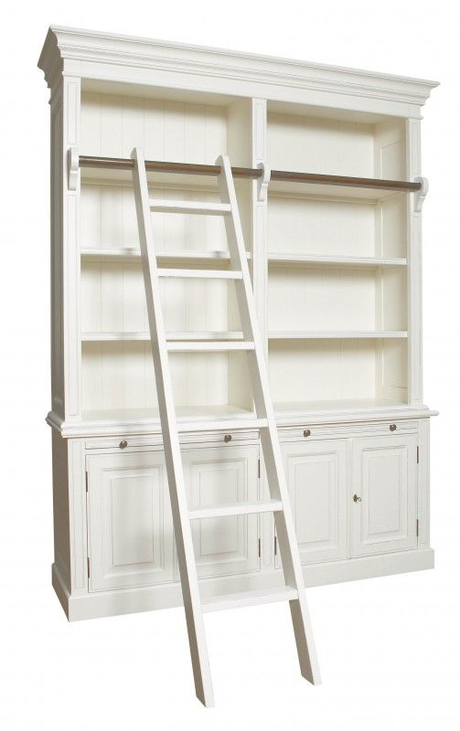French Bookcase with Ladder - Antique White or Black - French Bookcase With Ladder - Antique White Or Black Bookshelves