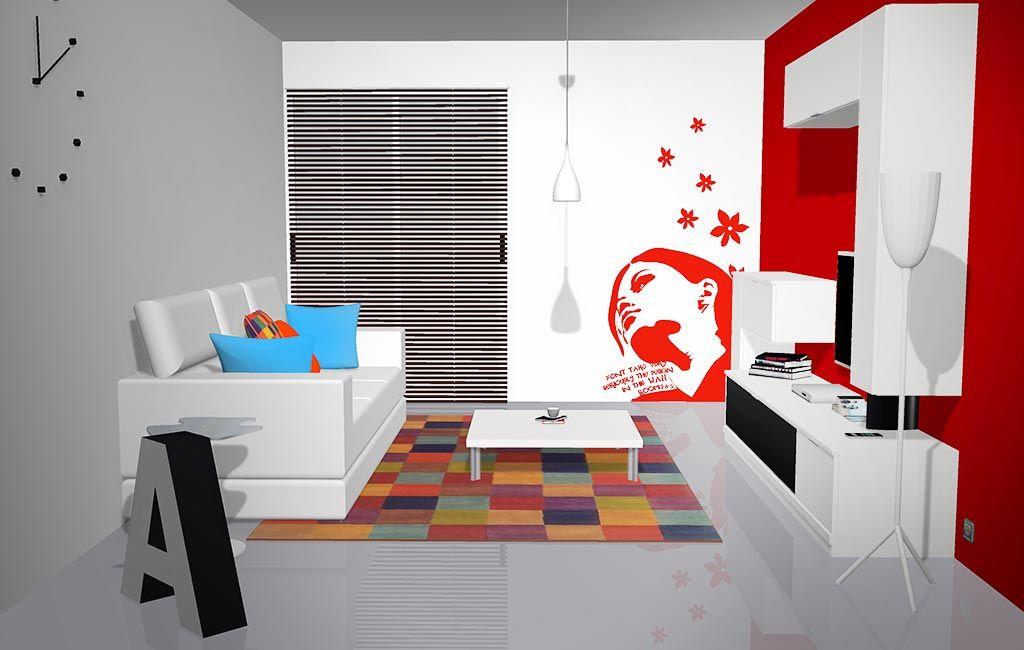 Se puede observar todo el salón con los muebles y la decoración ...
