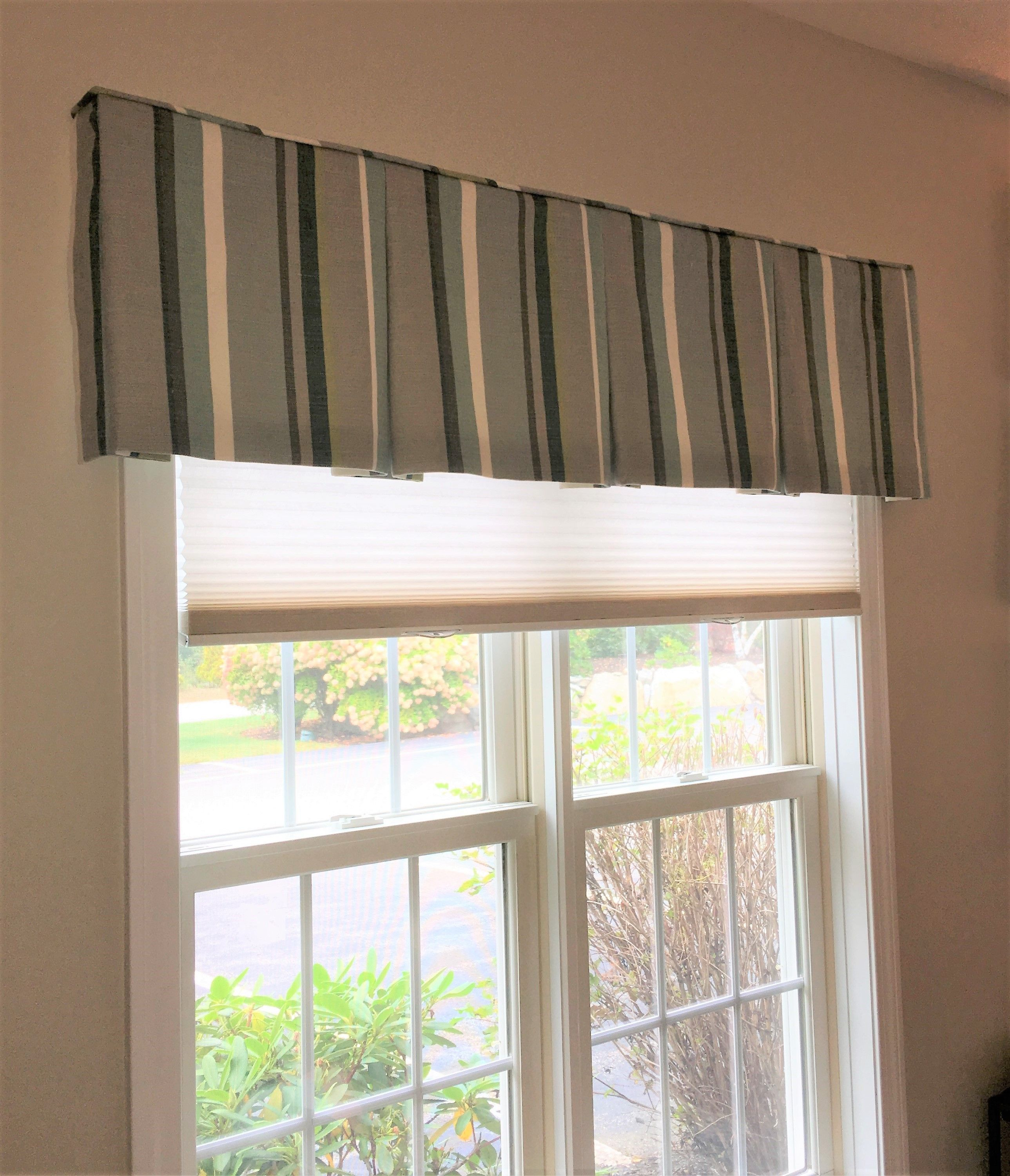 Box Pleated Striped Valance With Cellular Shade Home Valance