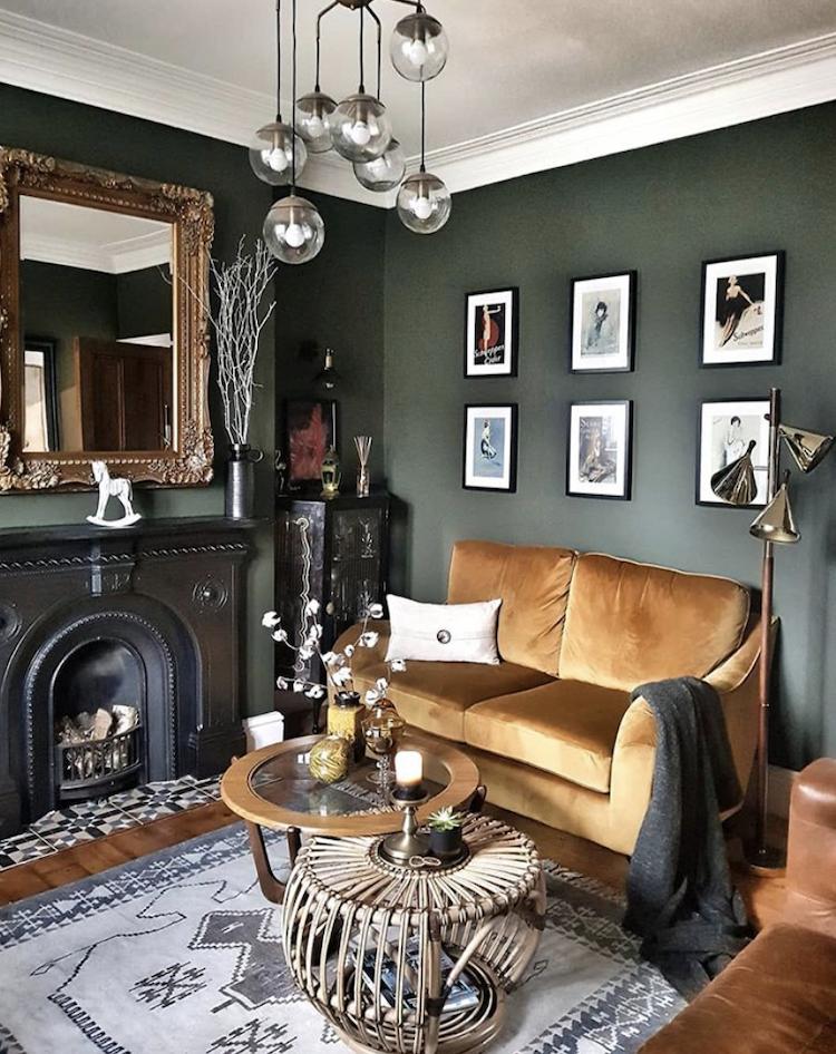 Monday Inspiration Beautiful Rooms Livingroomremodelideasbudget Dark Walls Living Room Green Walls Living Room Living Room Green