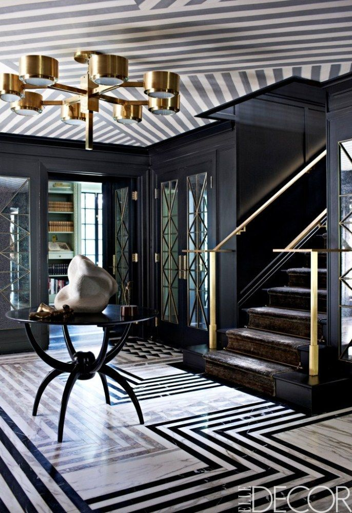 A black white and gold entry with