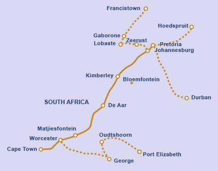 Blue Train Pretoria Cape Town Route Map Sudafrika Reiseziele Reisen
