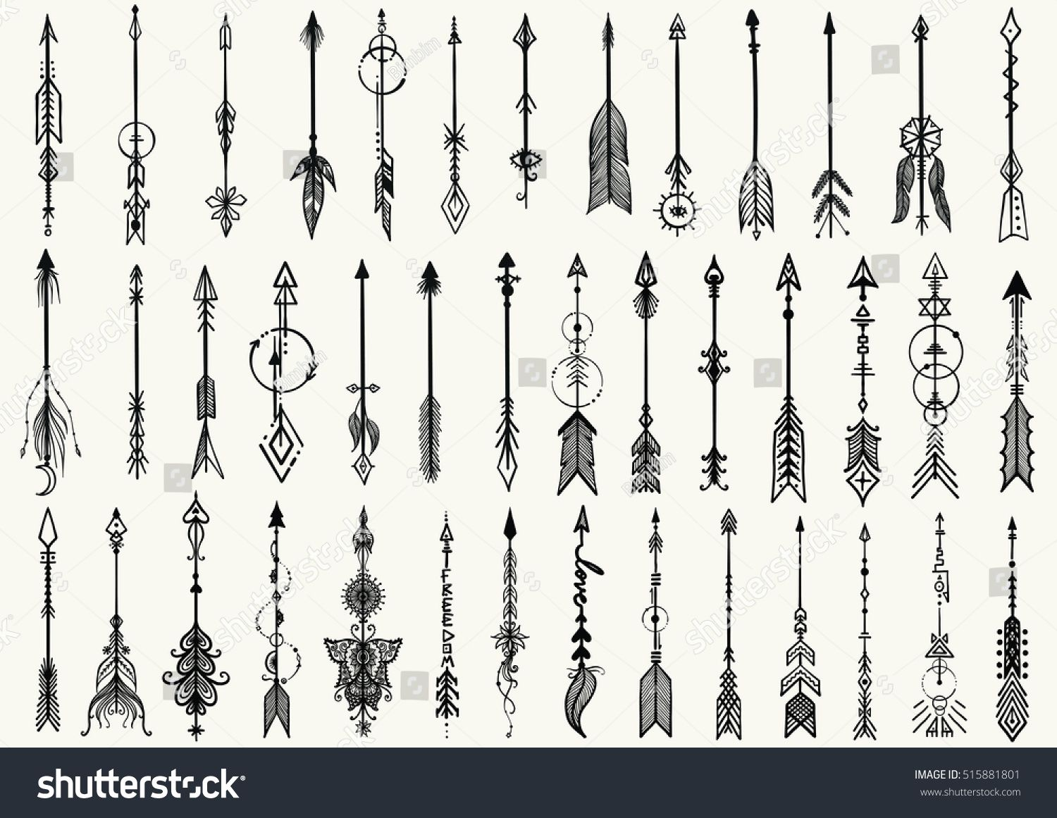 Big Set Of Hand Drawn Tribal Arrows For Design Element And Tattoo