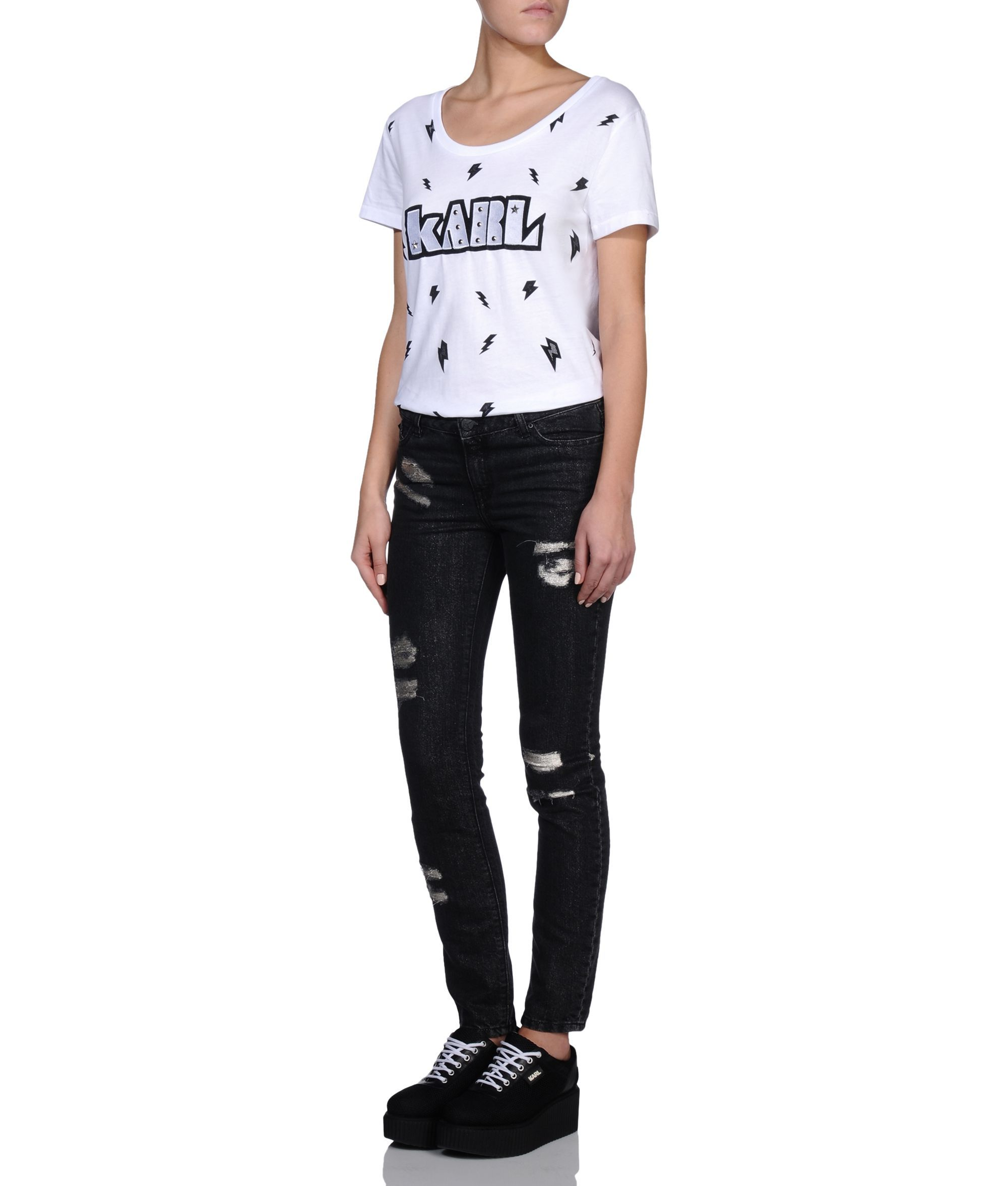 Are you looking for KARL LAGERFELD women's METALLIC RIP & REPAIRED DENIM? Discover all the details on KARL.COM. Fast delivery and secure payment.