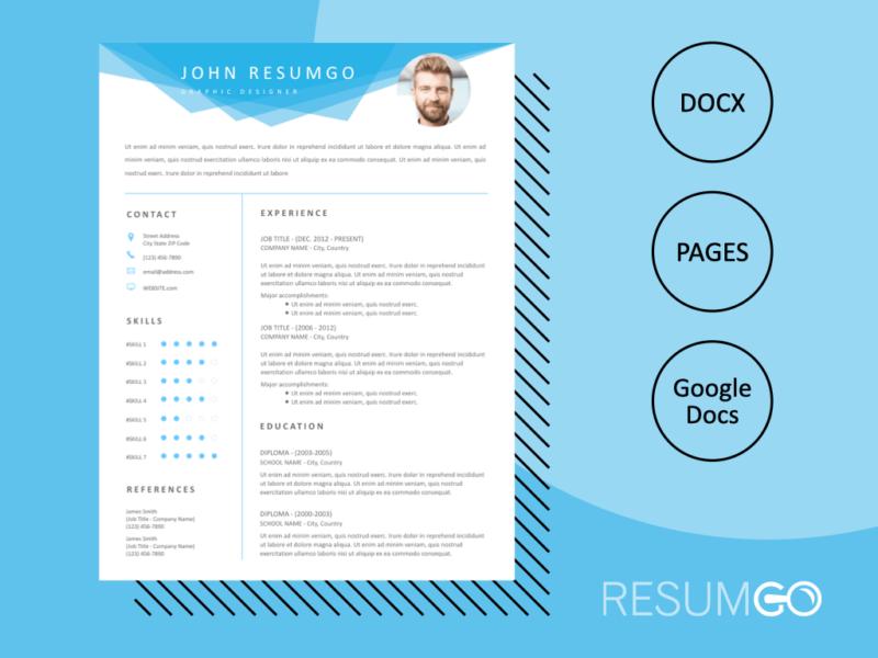 Elissa Blue Geometric Header Resume Template Resumgo Com Resume Template Modern Resume Template Resume