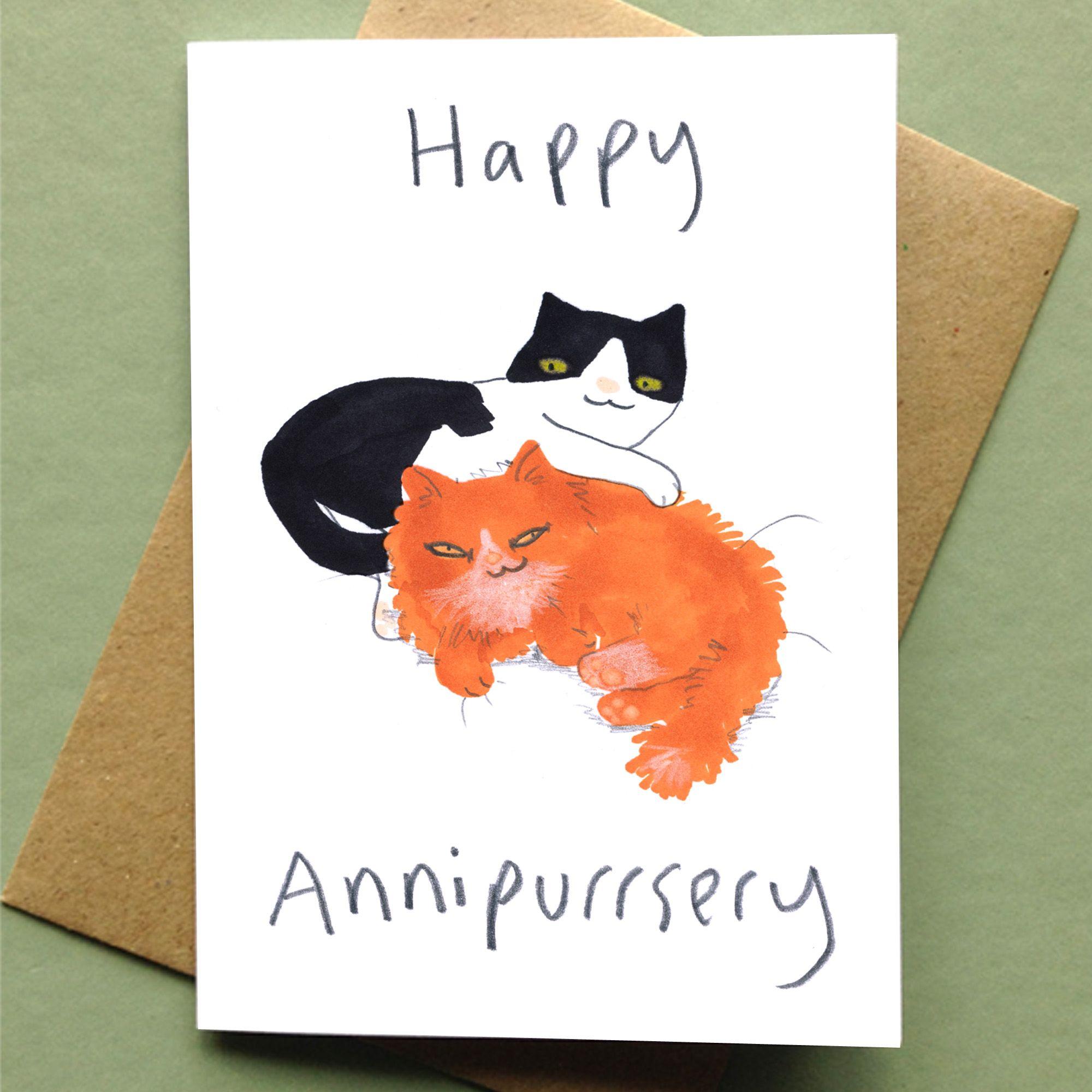 Happy Anniversary Card Cat Card Happy Anniversary Lettering Cat Cards Happy Anniversary Cards