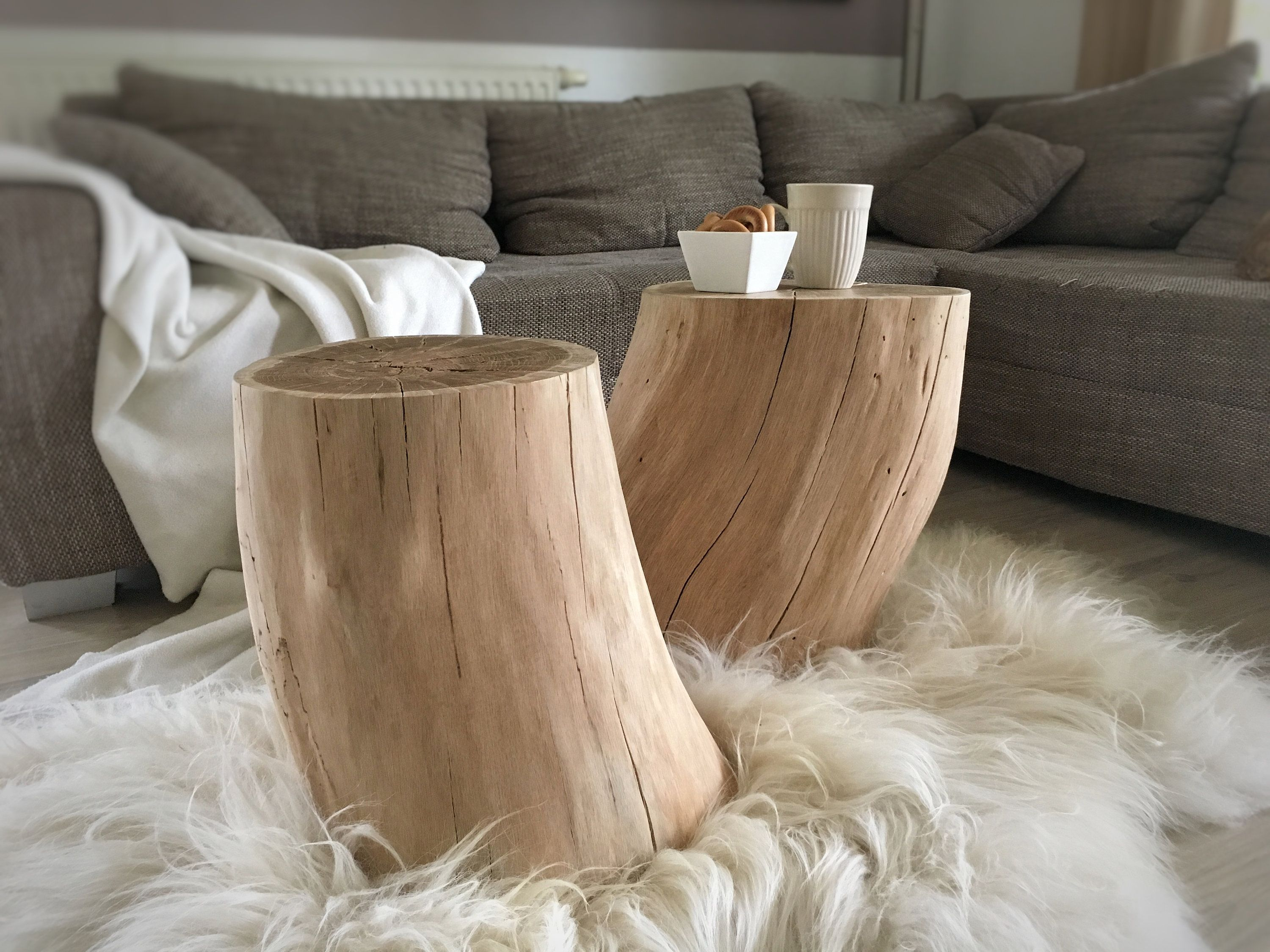 2 Set Side Table Bedside Table Tree Trunk Coffee Table