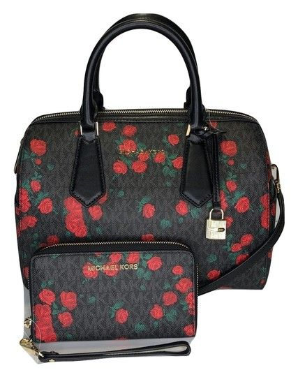 3926d1374821 Michael Kors Hayes Large Duffle with Phone Wallet Set Signature Mk  Black Red Roses Leather Satchel. Save big on the Michael Kors Hayes Large  Duffle with ...