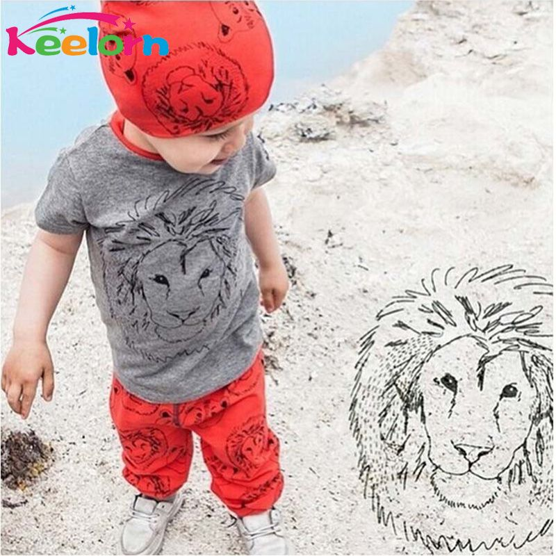 $9.50 (Buy here: http://appdeal.ru/5u08 ) Keelorn Lions kids clothes suit 2016 new summer style short-sleeved gray T-shirt + red pants sports suit  children clothing set for just $9.50