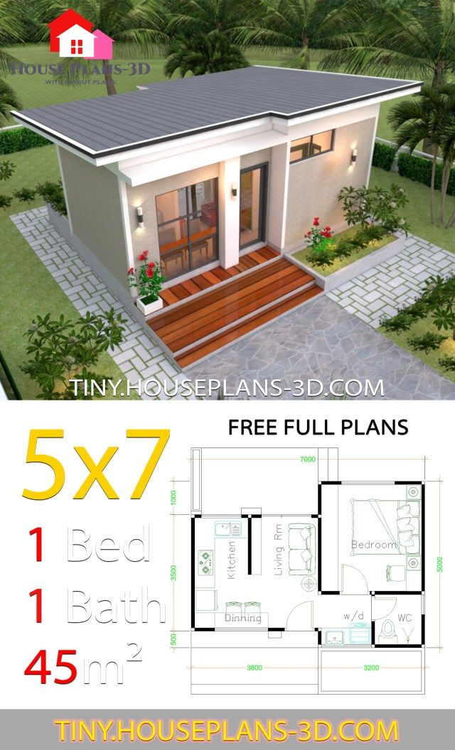 Small House Design Plans 5x7 With One Bedroom Shed Roof