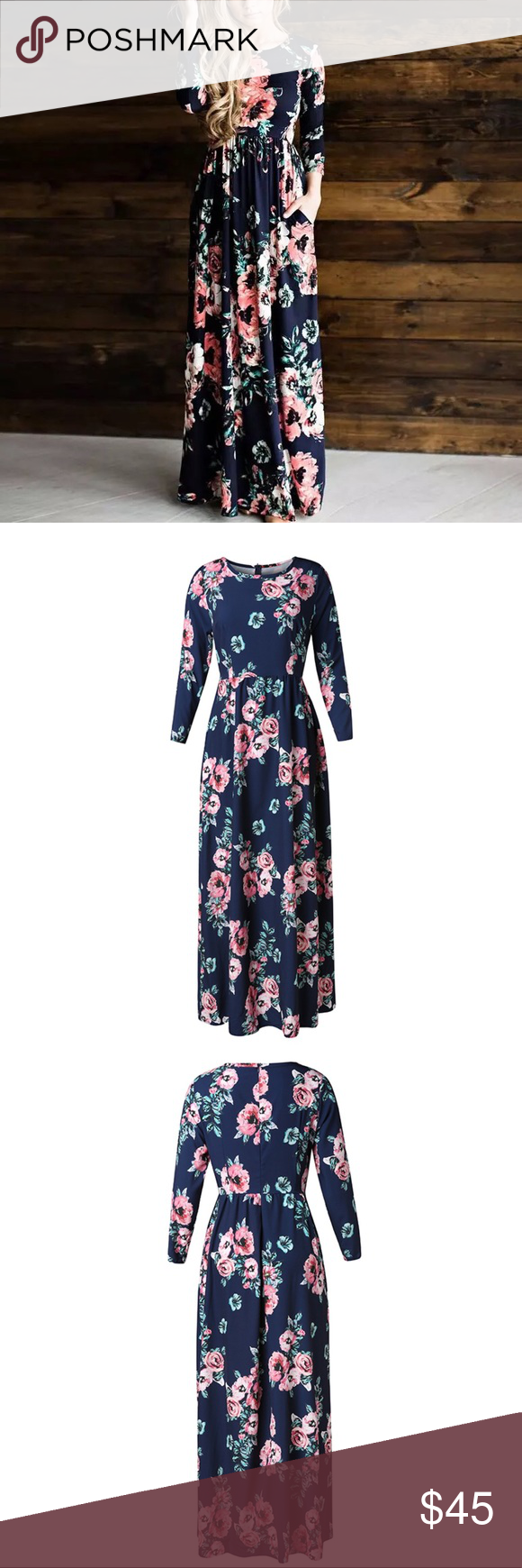 Hp new long floral print chiffon maxi dress boutique in