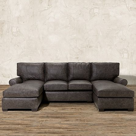 Brentwood 122 Leather Double Chaise Sectional In Saloon Grey