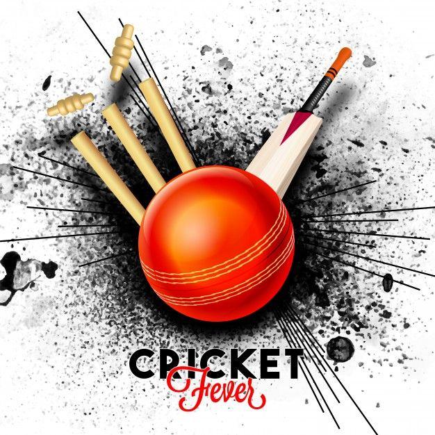 Skachivajte Krasnyj Shar Udaryaet Pchelinye Pni S Bitoj Na Chernom Abstraktnom Fone Bryzg Dlya Koncepcii Kriketnoj Lihoradki Besplatno Cricket Poster Wicket Cricket Games
