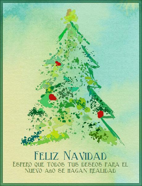 Tarjeta de navidad árbol pino de acuarela   navidad   Pinterest ...