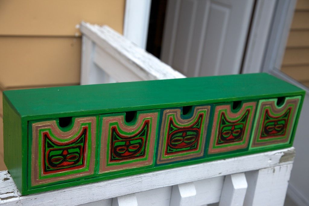 Hand painted IKEA organizer green & red
