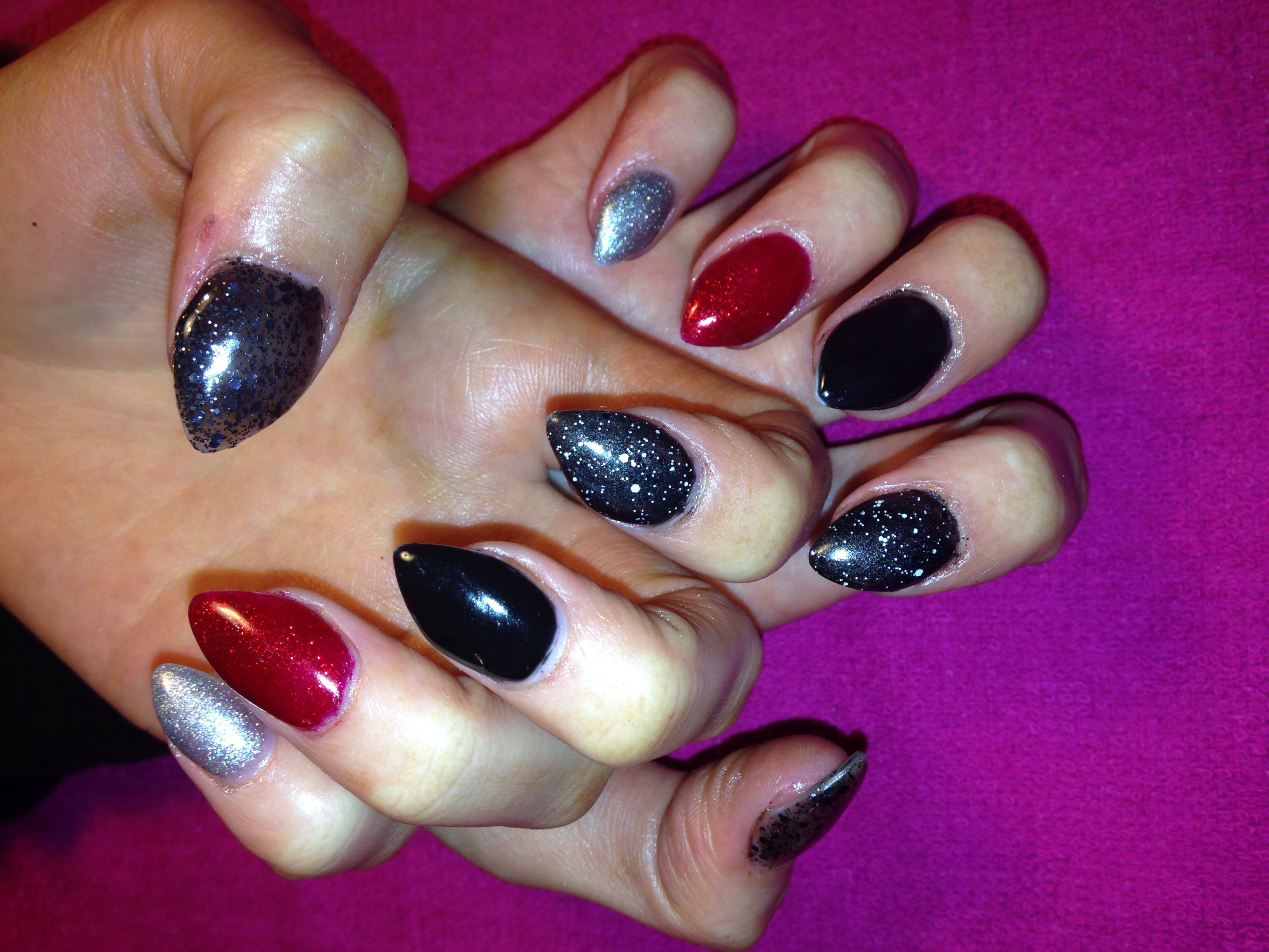 Full set of stiletto nails on natural nails. Her nails grew out with ...