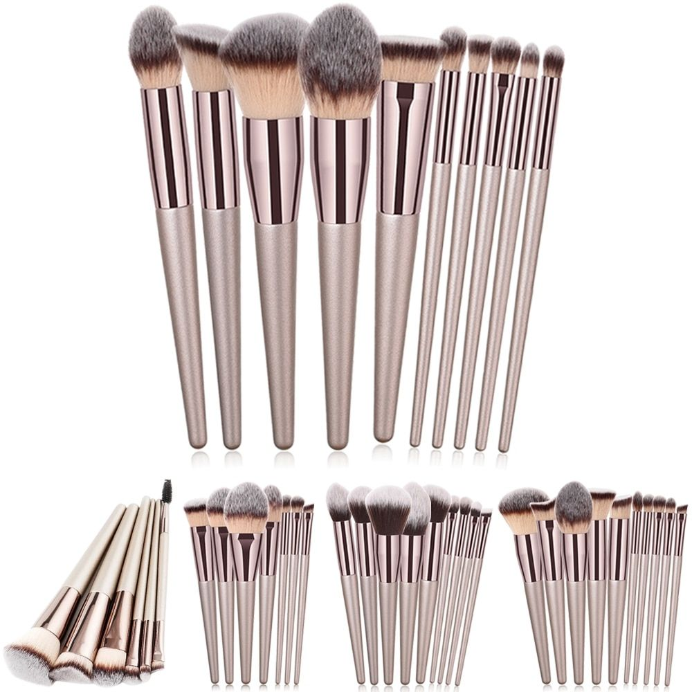 Luxury Champagne Makeup Brushes Set For Foundation Powder