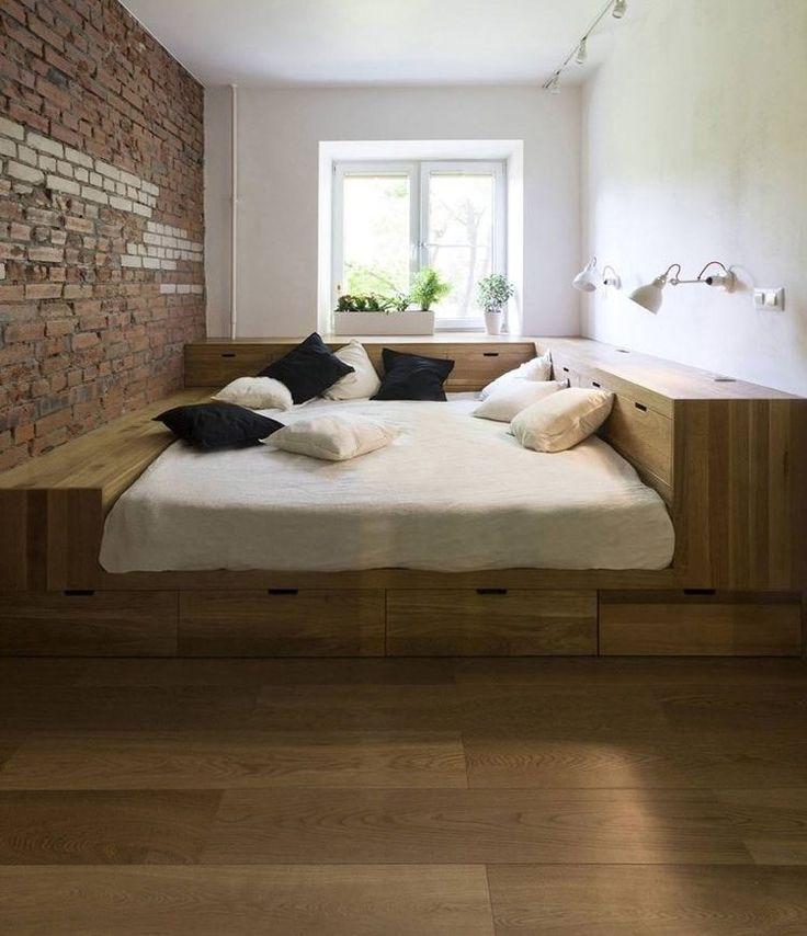 Bett Mit Podest schlafzimmer ideen bett bettenarte eingebaut podest holz treppen