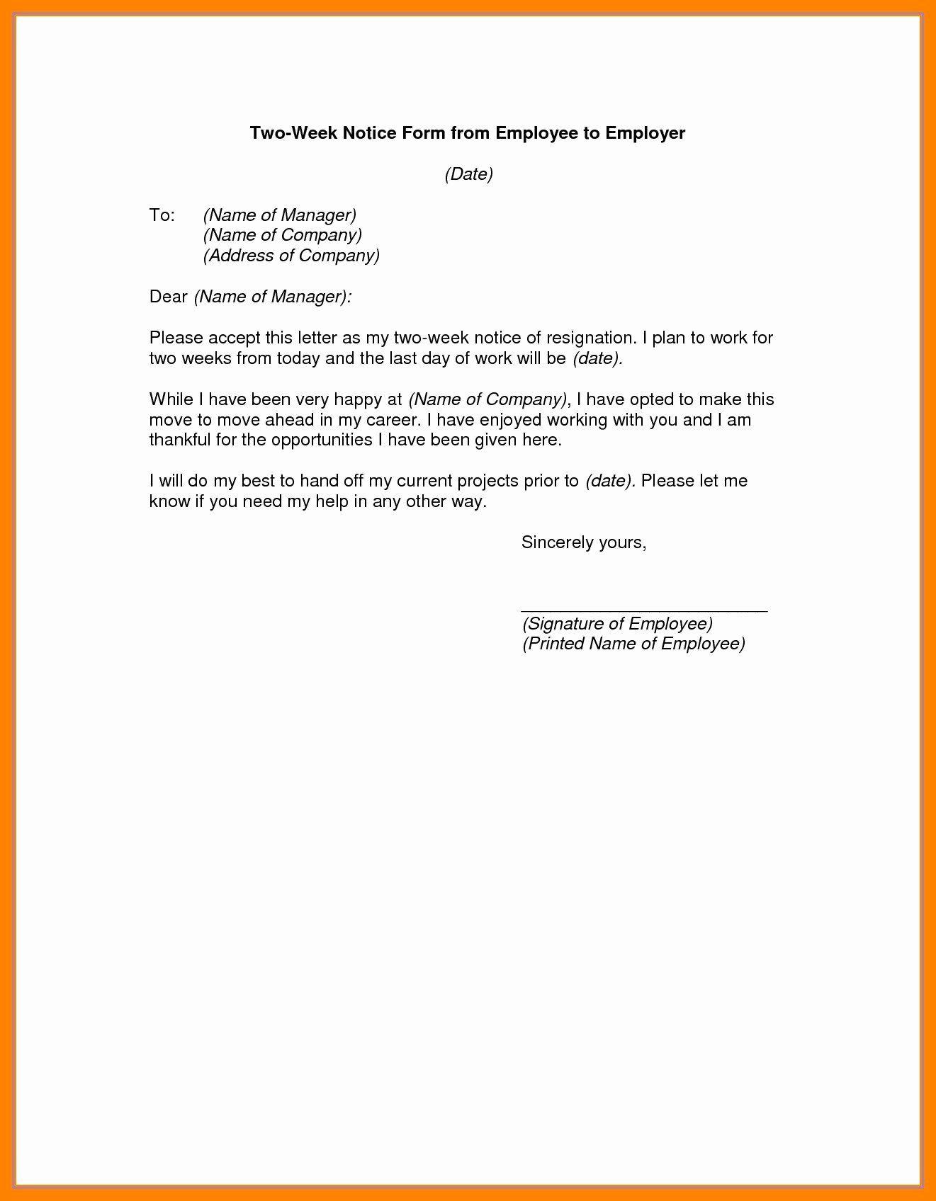 Two Week Notice forms Luxury 2 Weeks Notice form Resume