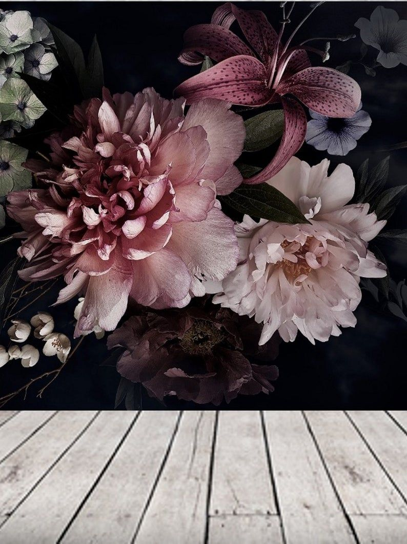 Dark Floral Removable Wallpaper Mural Black Peel And Stick Wallpaper Floral Bouquet Pink Peony Flower Wallpaper Wall Decor Bedroom 162 Peony Wallpaper Floral Wallpaper Pink Peonies Wallpaper
