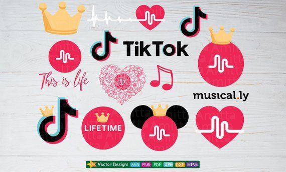 5778e6a71391 Set of Musically SVG files for cricut-Tik Tok logo +12 Vector clipart for t- shirt design-EPS- Svg -