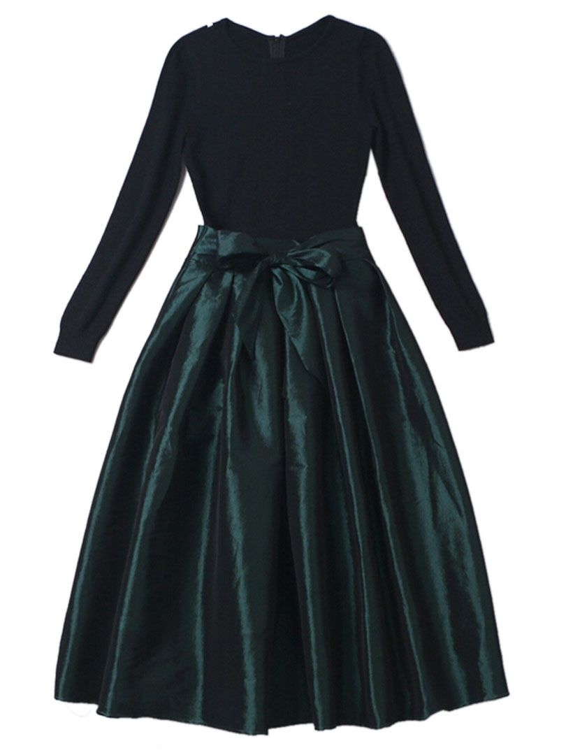 Black long sleeve with bowknot pouf dress outfits pinterest