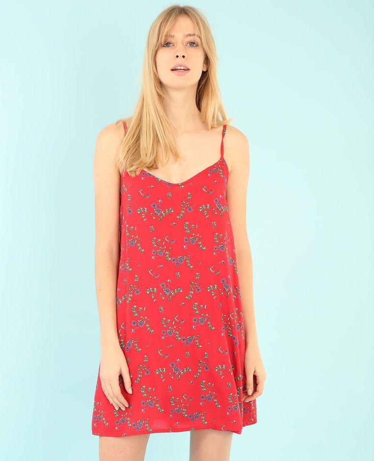 Pimkie Robe imprimée rouge , Collection Printemps/Été 2017 , On craque  pour la jolie découpe de bretelles de la robe fluide.