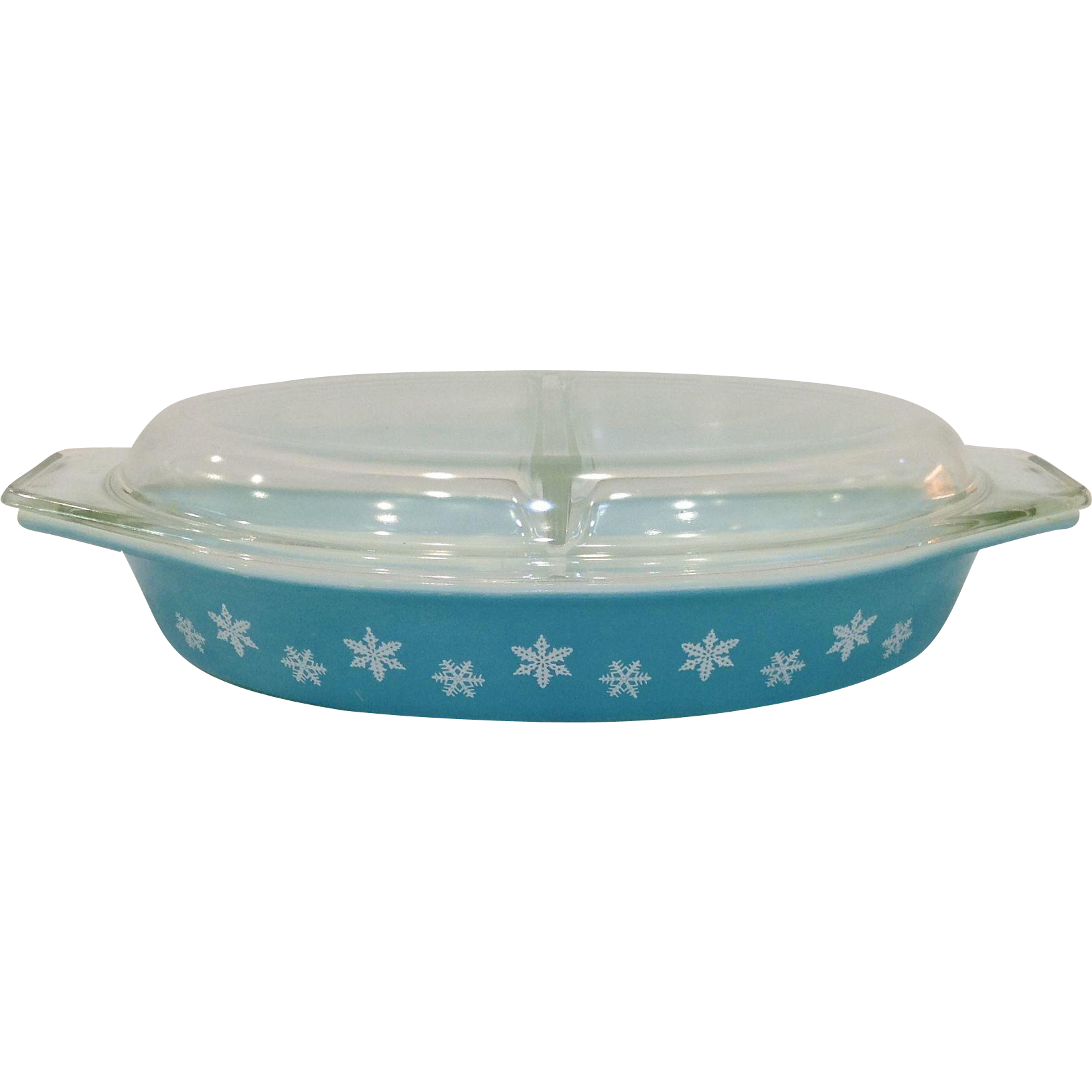 1950\'s Pyrex Snowflake Turquoise Divided Oval Casserole with Lid ...
