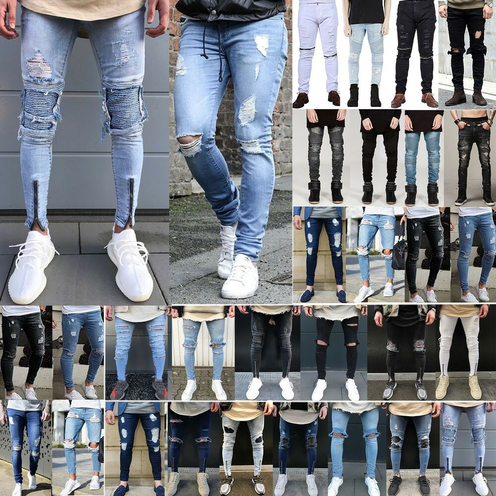 Mens Skinny Jeans Ripped Biker Slim Fit Denim Pants Distressed Frayed Trousers