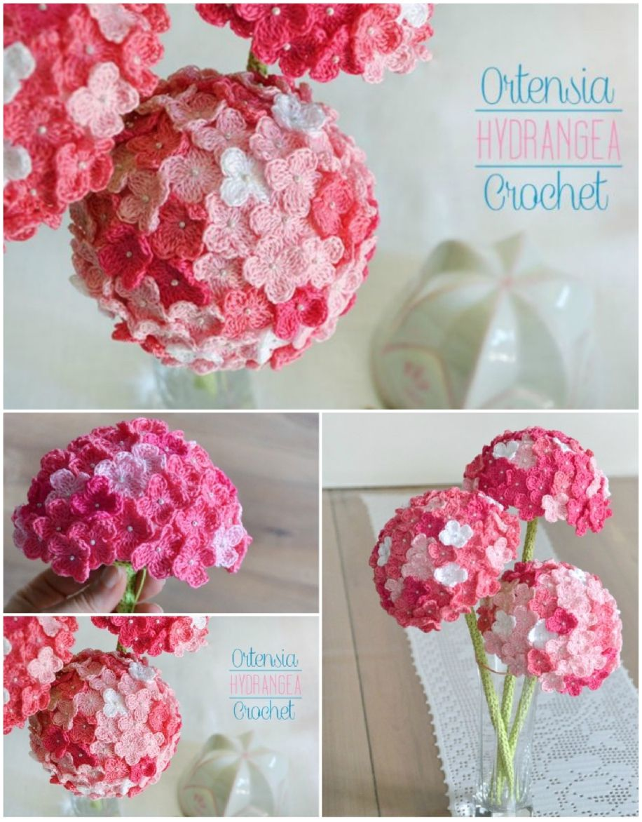 Crochet Hydrangea Flower Pattern Free Video Tutorial Crochet Flowers Crochet Plant Crochet