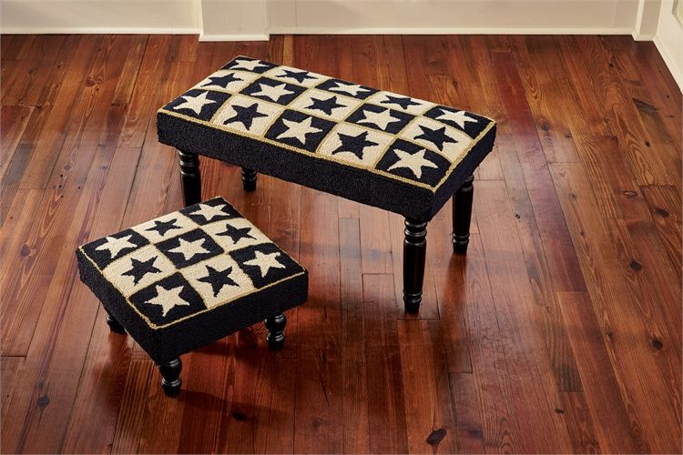 Black Star Hooked Bench is made with colors of black, cream and gold. There are also coordinating chair pads, rugs and a stool available in this collection. Please see the related item links below.     Made of poly loop yarn, each piece is hand hooked using an electronic gun.      Many of the pieces feature space dyed yarns to create natural variations in color pattern found in the antique pieces that provided the design inspiration.      Legs are shipped unat