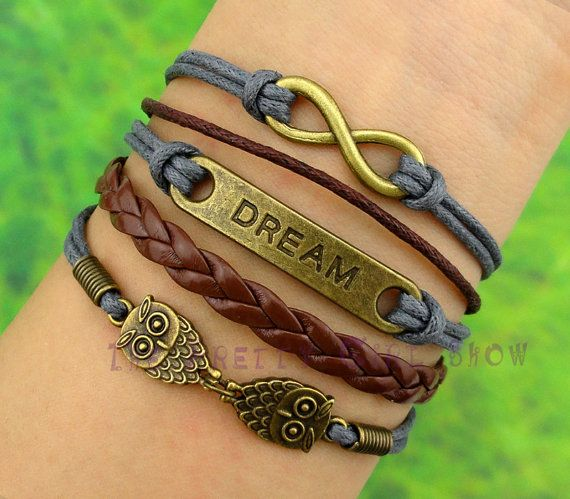 Infinity Dream Owls Bracelet In Bronze Customize Your Own Style Personalized