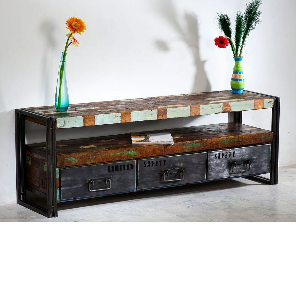 Lowboard Tv Bank 160cm Antik Holz Metall Designer Industrie Mobel