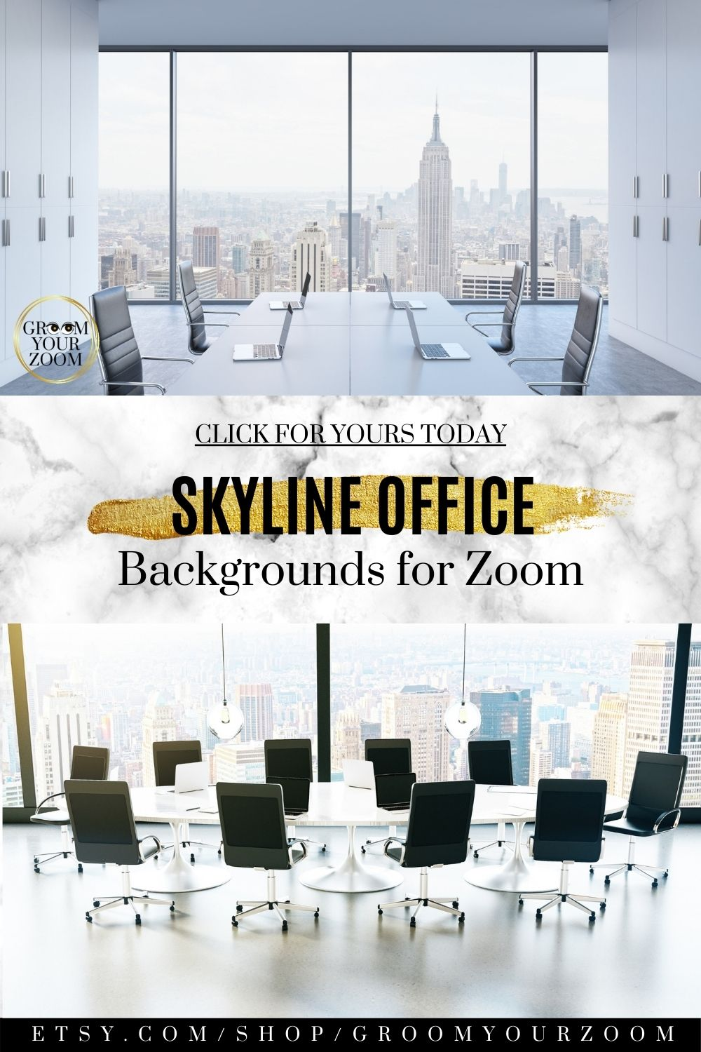 Skyline Office Zoom Background 4 Virtual Photos For Video Etsy In 2020 Office Background Background Wall Background
