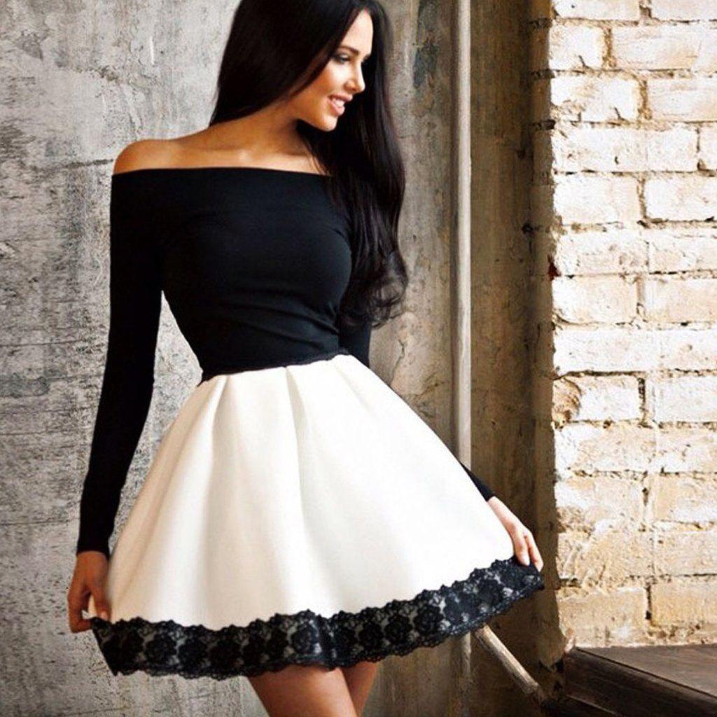 Off shoulder high waist patchwork lacetrimmed short dress