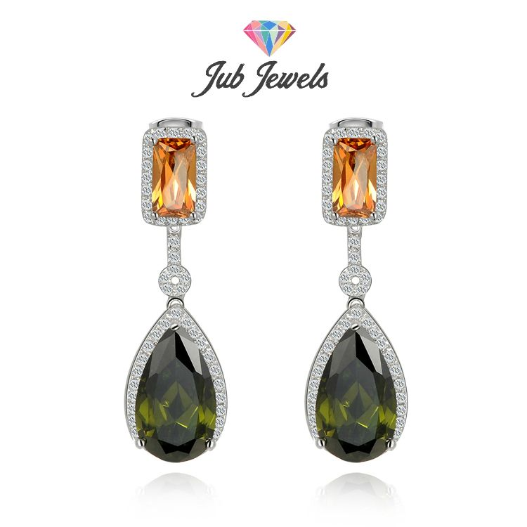 Peridot & Yellow Topaz Tear Drop Earrings - Jub Jewels