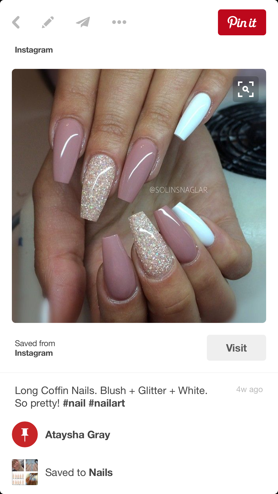 Pin by Ataysha Gray on Nails & Toes | Pinterest | Nail nail, Coffin ...